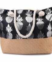 Goedkope strandtas ananas zwart zilver