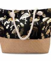 Goedkope strandtas flamingo ananas zwart goud