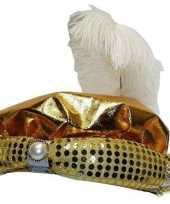 Goedkope sultan hoed goudkleurig pluim