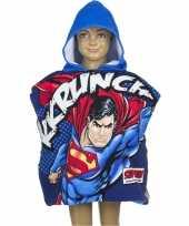 Goedkope superman badcape blauwe capuchon kinderen