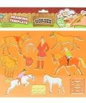 Goedkope tekensjabloon paarden oranje