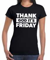 Goedkope thank god it is friday tekst t-shirt zwart dames