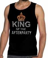 Goedkope toppers zwart toppers king of the afterparty glitter tanktop shirt heren