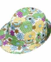 Goedkope trilby hoedje bloemen pailletten