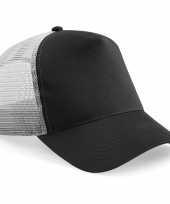 Goedkope truckers cap zwart grijs volwassenen