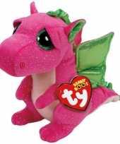Goedkope ty beanie knuffel roze draak
