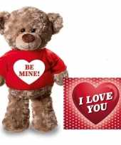 Goedkope valentijnskaart knuffelbeer be mine rood shirt