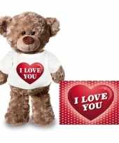 Goedkope valentijnskaart knuffelbeer i love you hartje shirt