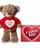 Goedkope valentijnskaart knuffelbeer i love you rood shirt