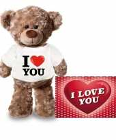 Goedkope valentijnskaart knuffelbeer i love you shirt