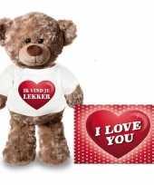 Goedkope valentijnskaart knuffelbeer ik vind je lekker shirt