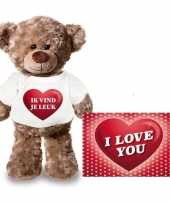 Goedkope valentijnskaart knuffelbeer ik vind je leuk shirt