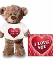 Goedkope valentijnskaart knuffelbeer ik vind je lief shirt
