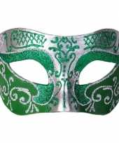 Goedkope venetiaans glitter oogmasker groen zilver