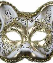 Goedkope venetiaans katten poezen gezichtsmasker wit goud