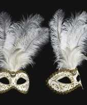Goedkope venetiaans veren oogmasker wit goud