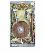 Goedkope viking zwaard bruin schild bijl set