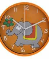 Goedkope wandklok olifant oranje