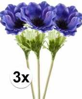 Goedkope x blauwe anemoon kunstbloemen tak