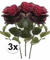 Goedkope x donker rode rozen simone kunstbloemen 10107228