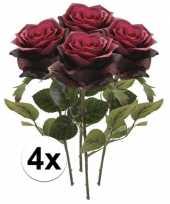 Goedkope x donker rode rozen simone kunstbloemen 10107229