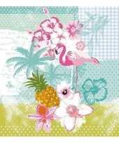 Goedkope x flamingo tropische thema servetten