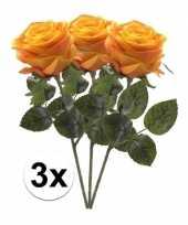Goedkope x geel oranje rozen simone kunstbloemen 10107272