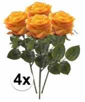 Goedkope x geel oranje rozen simone kunstbloemen 10107273