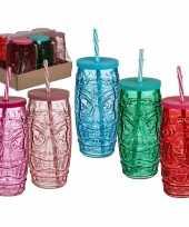 Goedkope x gekleurde glazen tiki drinkbekers rietje