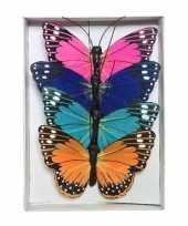 Goedkope x gekleurde vlinders draad decoratie 10139478