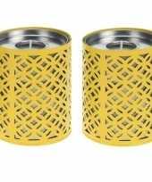 Goedkope x gele kaarshouders citronella waxinelichtjes