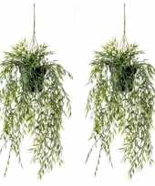 Goedkope x groene bamboe kunstplanten hangende pot