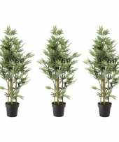 Goedkope x groene bamboe kunstplanten zwarte plastic pot 10155904