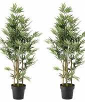 Goedkope x groene bamboe kunstplanten zwarte plastic pot