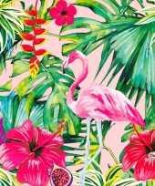 Goedkope x hawaii thema servetten flamingo roze groen 10144904
