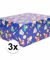 Goedkope x inpakpapier cadeaupapier blauw ruimte thema cm rol 10161804