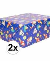 Goedkope x inpakpapier cadeaupapier blauw ruimte thema cm rol
