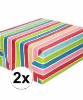 Goedkope x inpakpapier cadeaupapier gekleurde streepjes