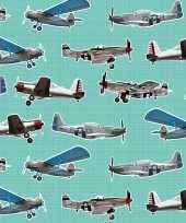Goedkope x inpakpapier cadeaupapier vliegtuigen mintgroen 10140337