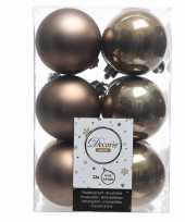 Goedkope x kasjmier bruine kerstballen kunststof mat glans 10104616