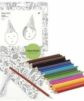 Goedkope x knutsel papieren feesthoedjes om te kleuren incl potloden