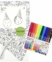 Goedkope x knutsel papieren feesthoedjes om te kleuren incl stiften