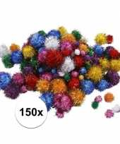Goedkope x knutsel pompons mm glitterkleuren