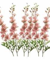 Goedkope x kunstbloemen ridderspoor takken roze 10162102
