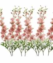 Goedkope x kunstbloemen ridderspoor takken roze 10162103