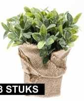 Goedkope x kunstplanten munt kruiden groen jute pot 10145248