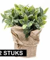 Goedkope x kunstplanten munt kruiden groen jute pot