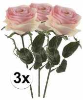 Goedkope x licht roze rozen simone kunstbloemen 10107248