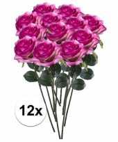Goedkope x paars roze rozen simone kunstbloemen 10107298