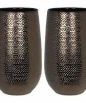Goedkope x ronde vazen bloempotten gabriel brons keramiek